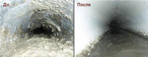 Прочистка ливневой канализации до и после